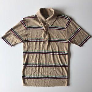 Vintage 70s/80s Men's Tan Stripe Polo Shirt Size S